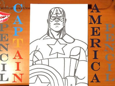 How to draw CAPTAIN AMERICA Easy from AVENGERS Marvel, draw easy stuff with PENCIL, SPEED ART