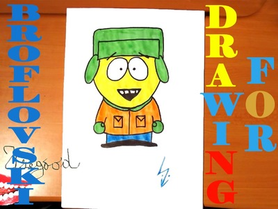 How to draw KYLE BROFLOVSKI from SOUTH PARK characters Easy, draw easy stuff | SPEED ART