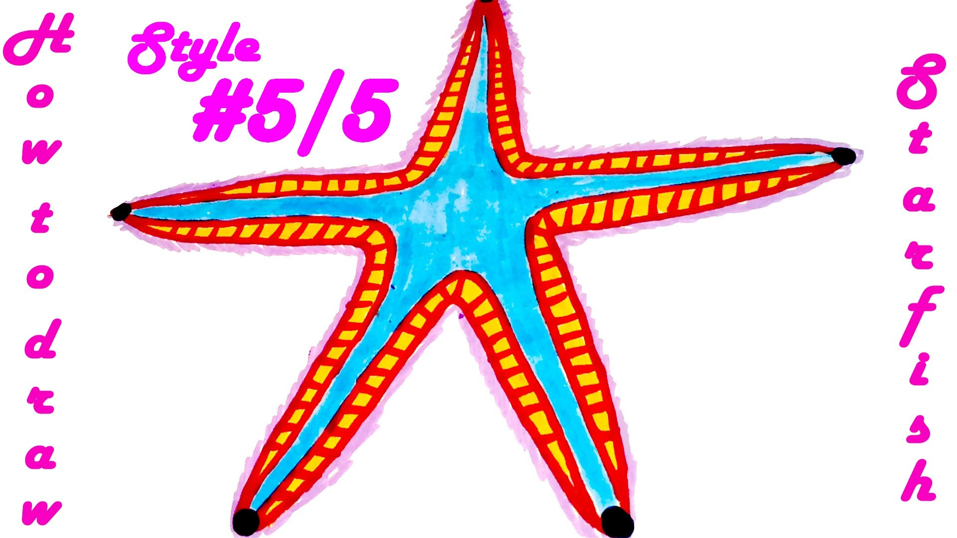 How to draw STARFISH Easy - Realistic animals, draw easy stuff but cool, SPEED ART, #5.5