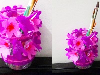 How to make waste bottle flower vase || DIY waste bottle pen holder