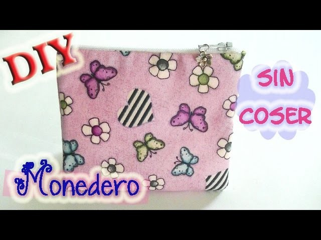 Monedero de fieltro y tela sin coser. DIY Coin purse felt and fabric no sew