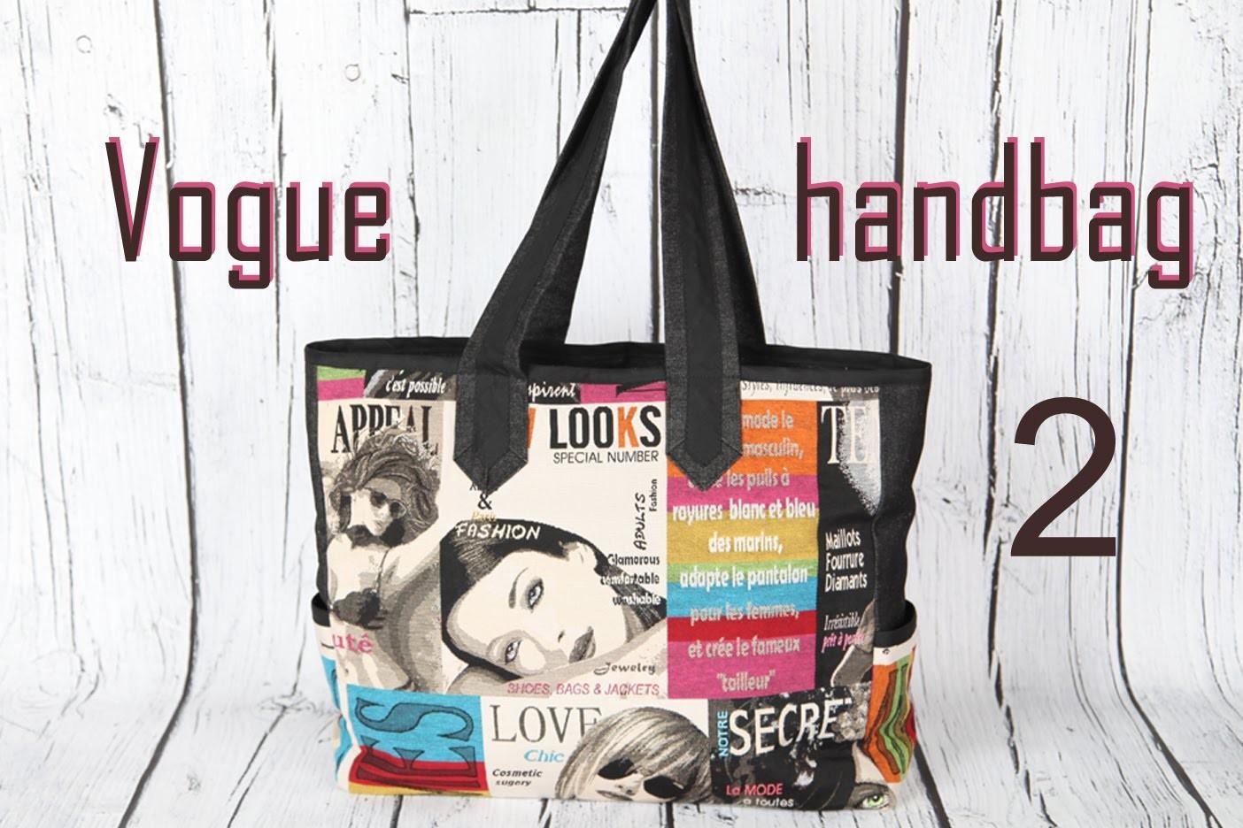 Vogue 2, magazine print handbag, mitered handles. DIY Bag Vol 25B
