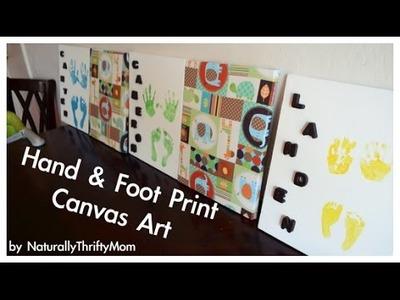 DIY Hand & Foot Print Canvas Keepsake. Toddler Activity