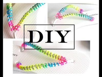 {DIY} Rainbow Flip Flops