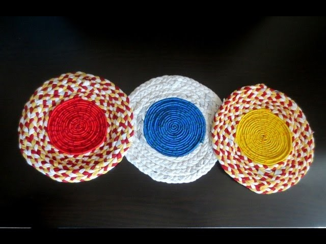 DIY T-shirt Yarn Coasters