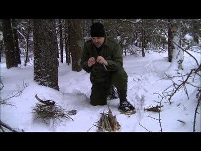 Flint and Steel Fire in the snow using the DIY bushcraft striker tool