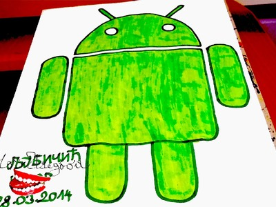 How to draw ANDROID Logo EASY Full Body Robot | draw easy stuff.things but cool | SPEED ART