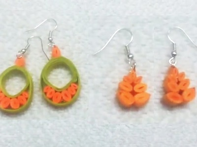 Quilling Paper Earrings latest designs making methods - handicrafts Making at home