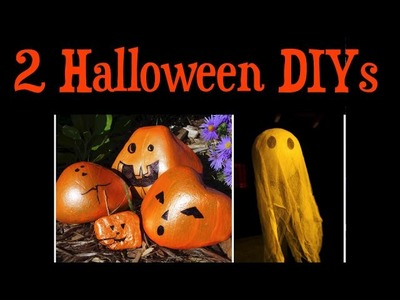 Boo It Yourself Collab: 2 Easy DIY Halloween Decor Ideas (Rock Pumpkins & Cheesecloth Ghost)