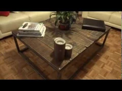 DIY COFFEE TABLE with RECYCLED PALLETS AND SCRAP METAL