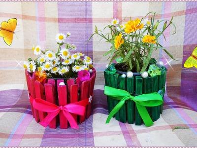 DIY: cute  and easy  clothespins vase