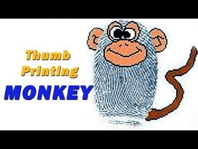 DIY - How To Make Thumb Printing Monkey | Creative Art Work | Easy Drawing Steps