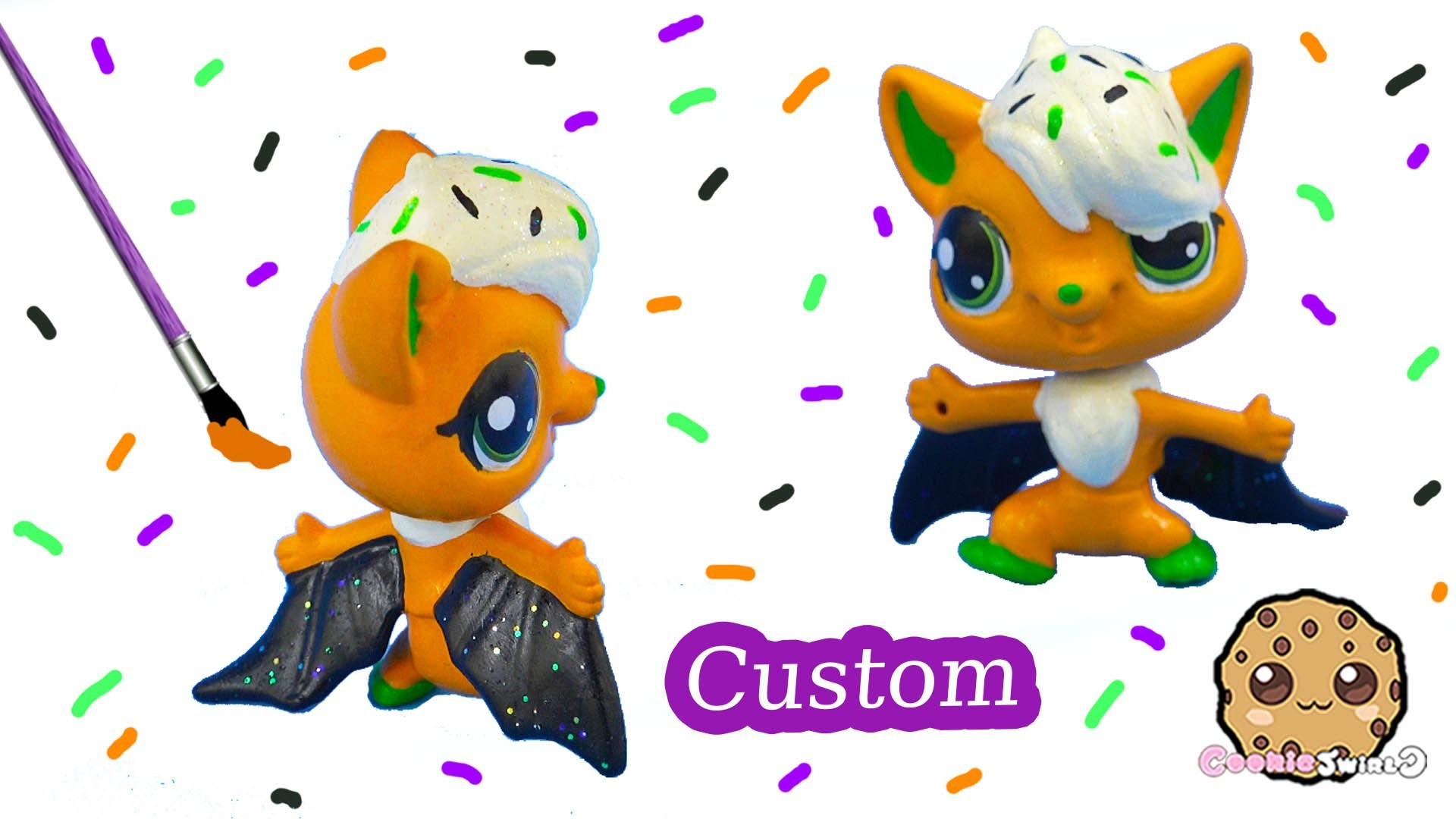 DIY Littlest Pet Shop Custom Cupcake Halloween Inspired LPS Bat Painted Craft Toy Cookieswirlc