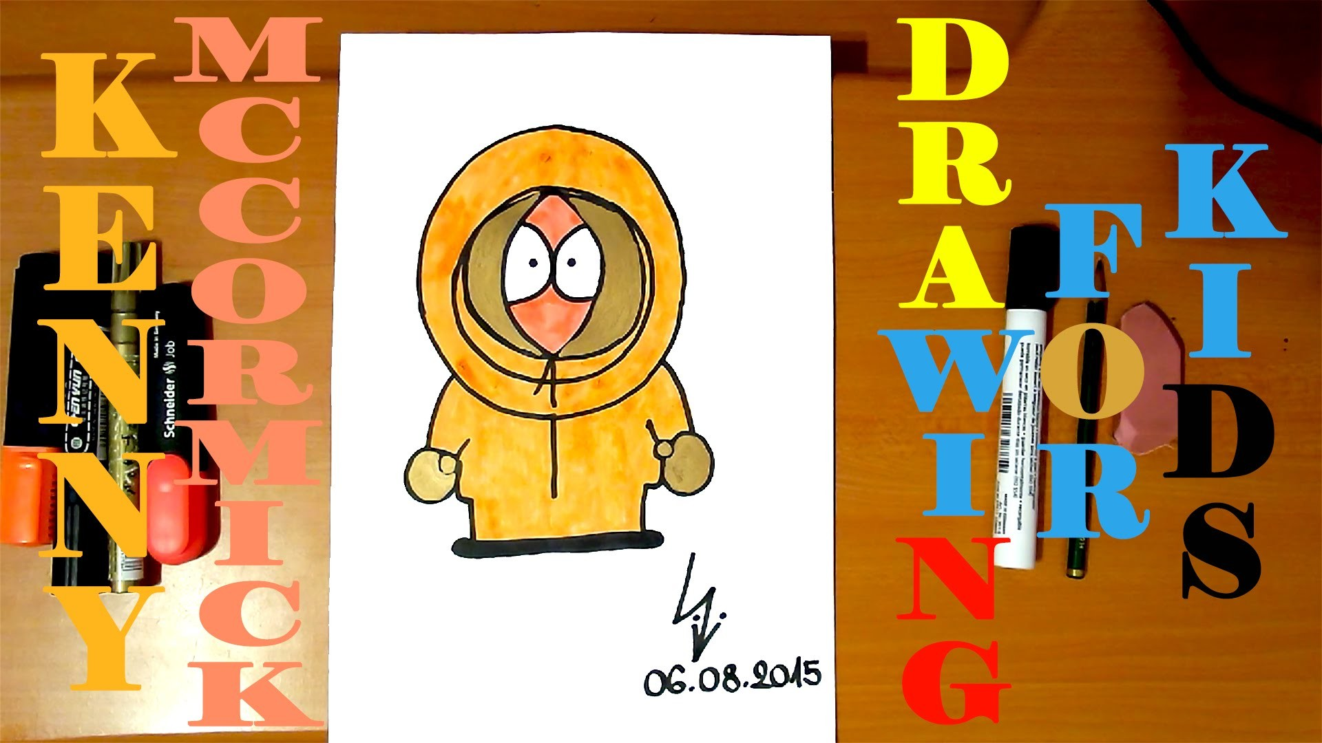 How to draw KENNY MCCORMICK from SOUTH PARK characters Easy,draw easy stuff but cool,SPEED ART