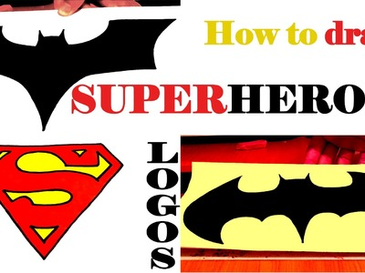 How to draw SUPERHEROES Logos for Beginners Step by Step Easy, draw easy stuff but cool on paper