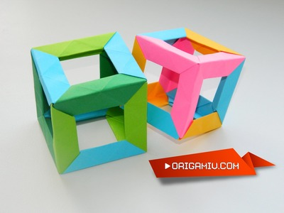 Origami Cube colored paper Tutorial