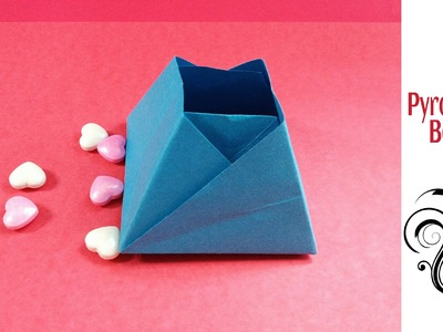 Origami Paper Pyramid Box. Container !!