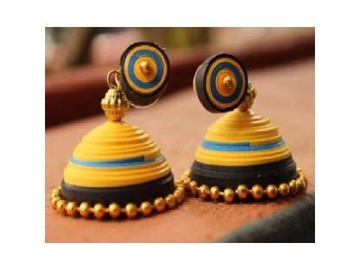 Paper Quilling Jhumkas Earrings in Tamil Tutorial
