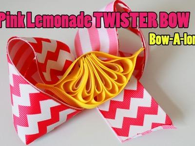 Pink Lemonade.LEMON Twister hairbow DIY. BOW-A-LONG