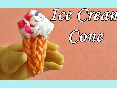 Rainbow Loom Ice Cream Cone Charm (3D) - (DIY Mommy, Fun Loom, Crazy Loom, Food, AG Doll)
