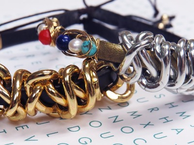 DIY Chunky Chain and Leather Bracelet