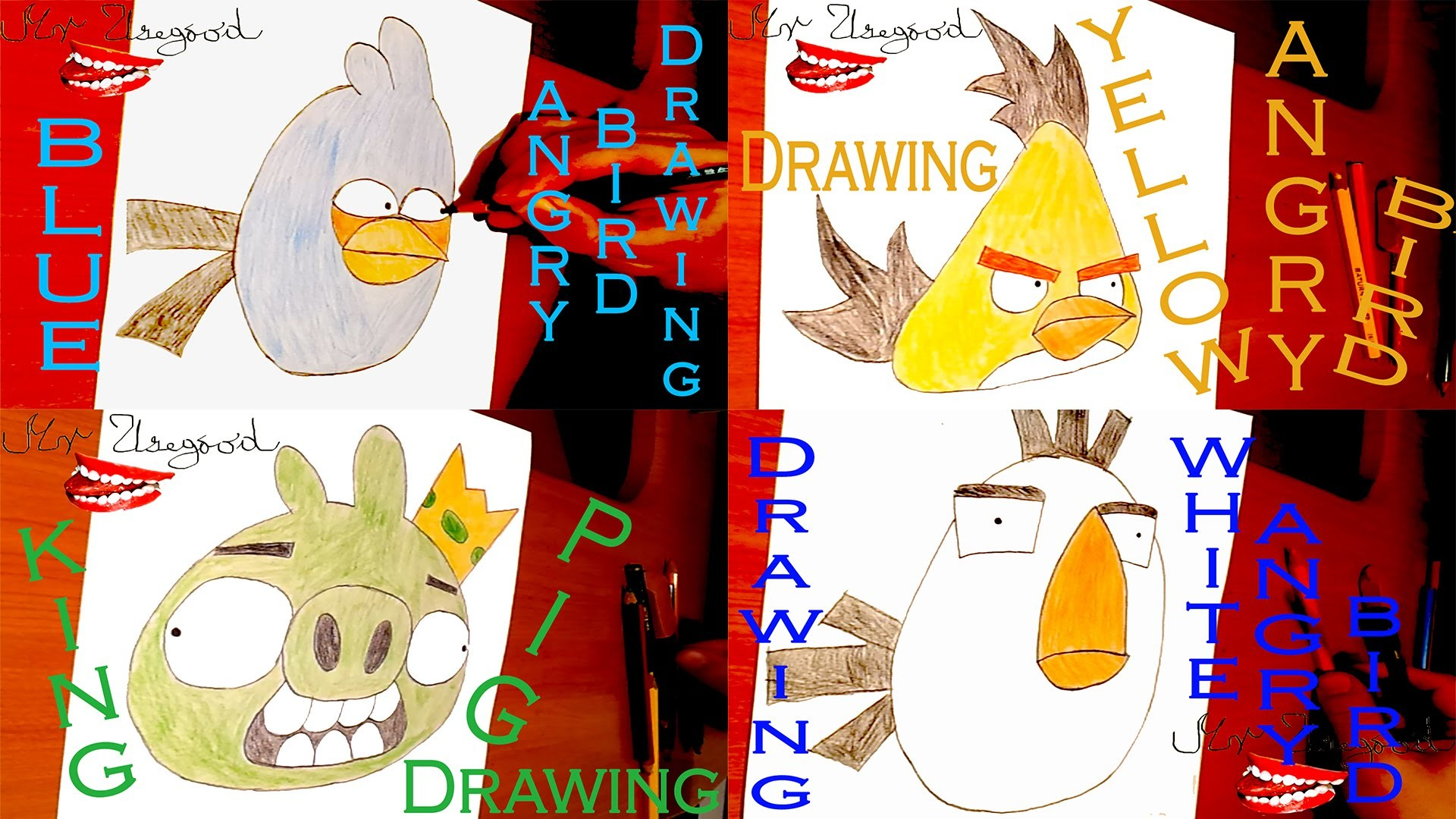 DIY How to draw Angry Birds Easy YELLOW.WHITE.BLUE Bird and KING PIG | draw easy stuff | SPEED ART