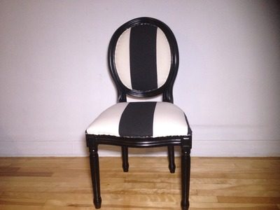 DIY: how to upholster a chair: with a stripe  down the middle