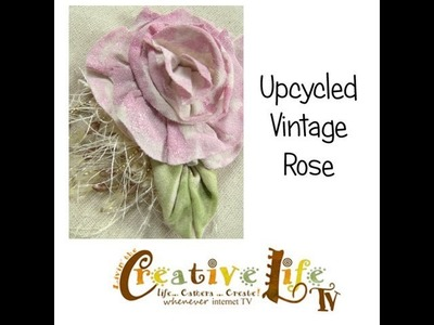 How to Upcycle a t-shirt into a Vintage Rose Embellishment by Linda Peterson