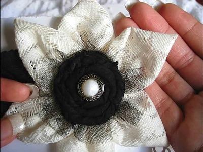 Pretty handmade fabric flowers (my 1st attempt)!!!
