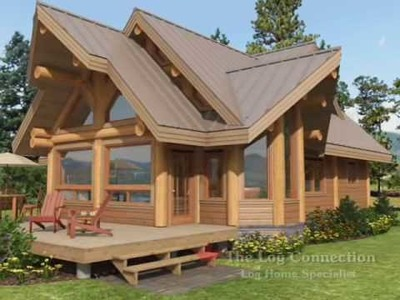 Cascade stacked log home by The Log Connection