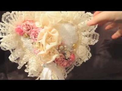 Heart Pillow - Handmade Flowers and Keepsake Card