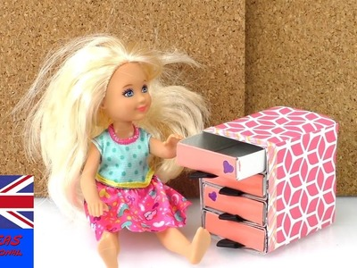 How to make a doll drawer - DIY chest of drawers for doll house - selfmade doll house furniture