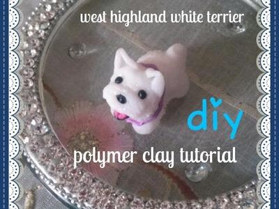 Miniature Westie-Polymer clay dog tutorial. DIY
