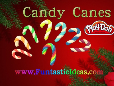 Play Doh Candy Canes Rainbow  - Christmas Candy - How to tutorial with playdough