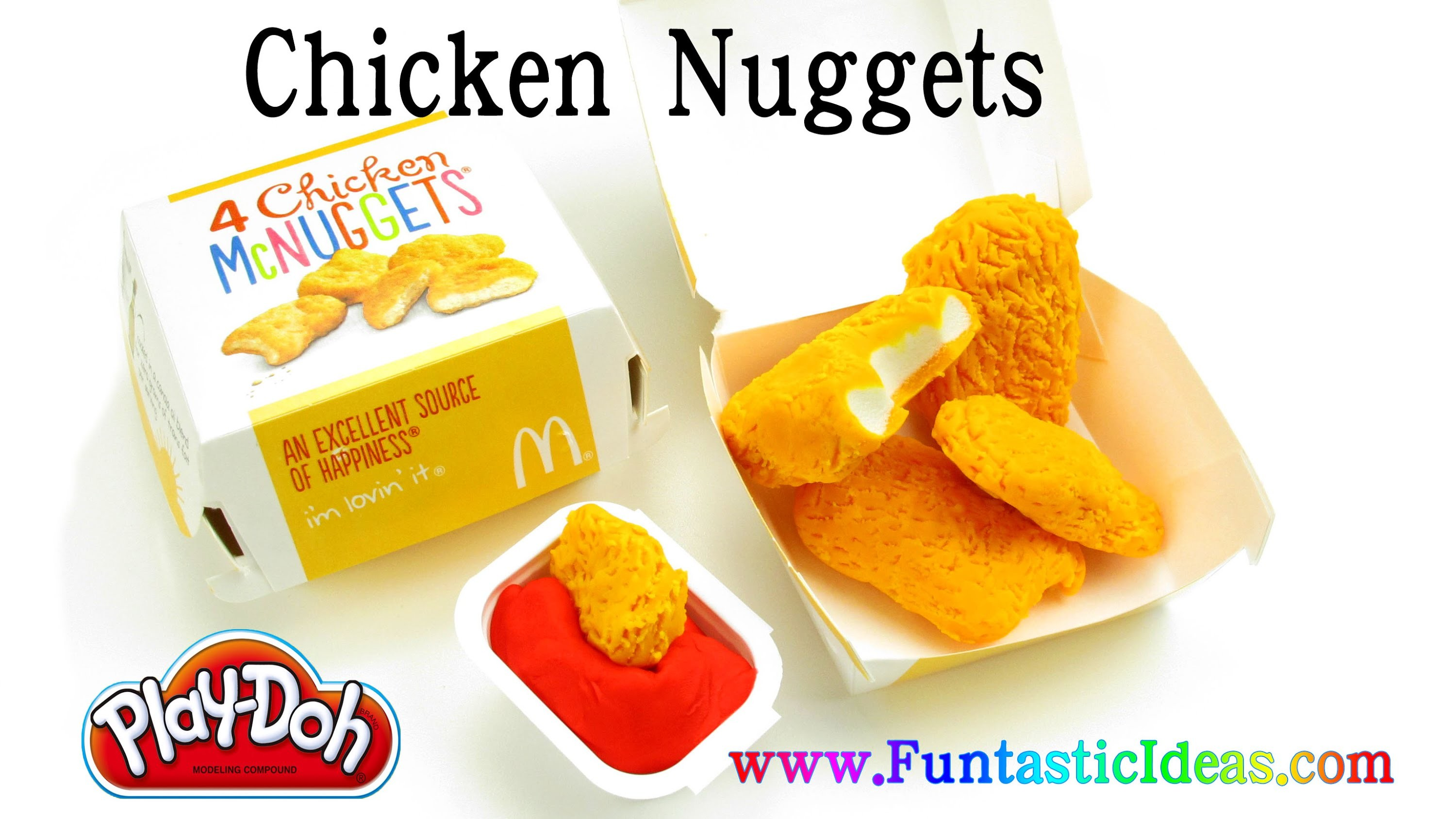 Play Doh Chicken Nuggets and Catch-Up.Sauce McDonald's Happy Meal - How to by Funtastic ideas
