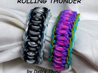 "Rainbow Loom Bracelet - Original Design - ""ROLLING THUNDER"" (ref # 3Srr)"