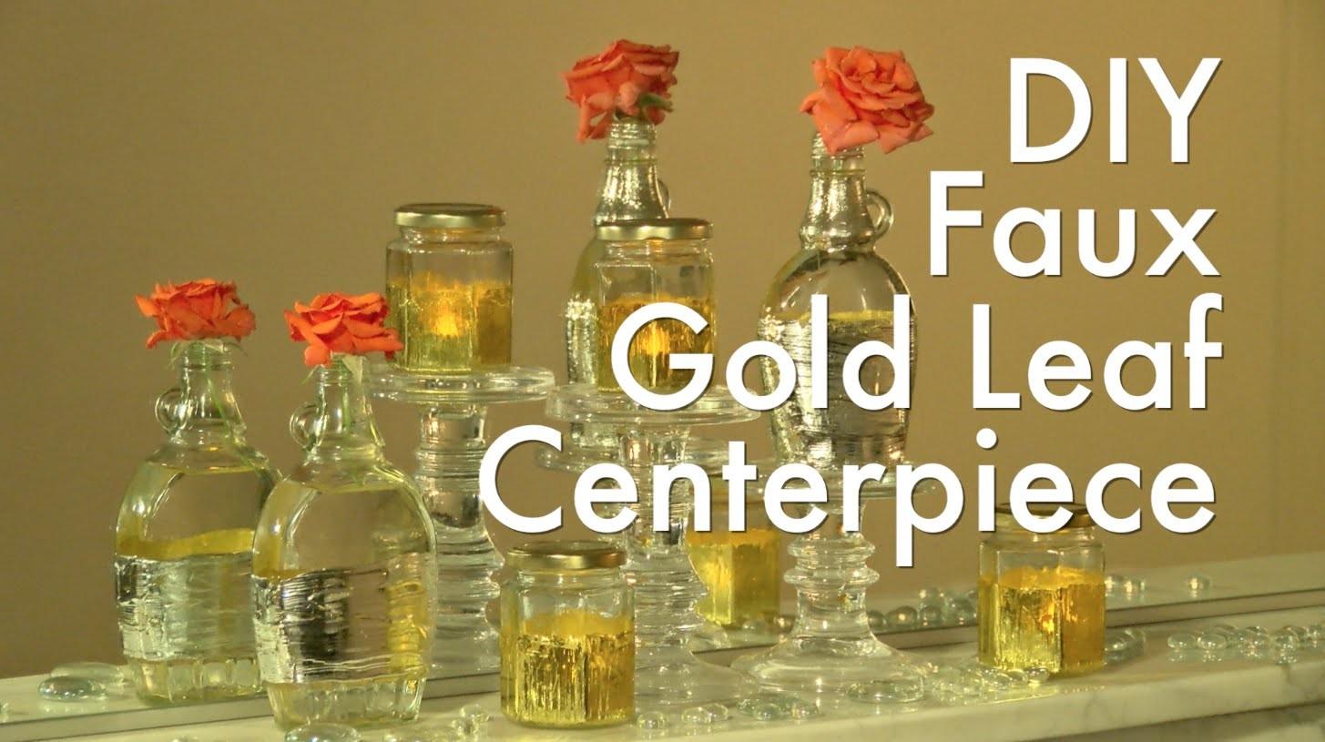 DIY Faux Gold Leaf Centerpiece
