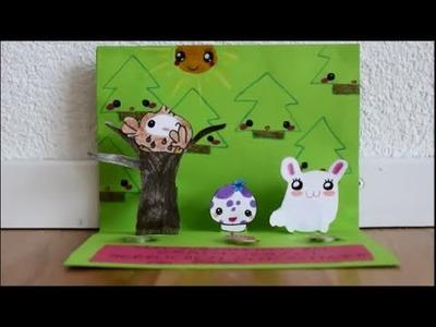 DIY: Pop Up Card Kawaii figures - Happy Birthday - easy, simple, Beginner Tutorial