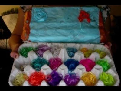 DIy-rainbow loom egg carton band organizer + review