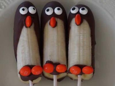 How to Make Frozen Banana Penguins of Madagascar Pop Treats - DIY