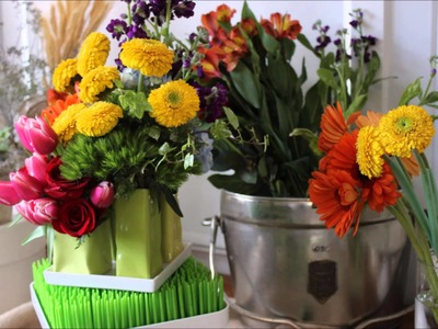 Rainbow Flower Arrangement Spring Flowers Unique Fresh Flower Design DIY centerpiece