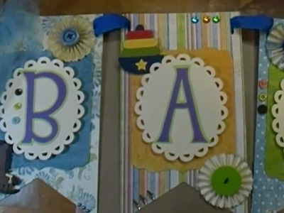 Baby boy banner and shower invitations