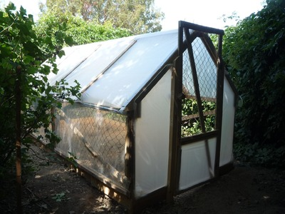 Home-made 5 Dollar Greenhouse. Serre en récup. Invernadero con palets reciclados.