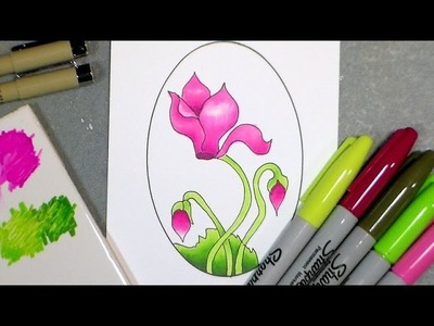 How to draw cyclamen and color with sharpies