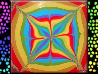 Rainbow leaf water marble design ♧