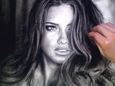 Sensual Adriana Lima Charcoal Portrait time lapse video