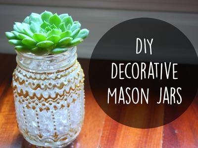 DIY Room Decor: Decorative Mason Jars with Puffy Paint ☀