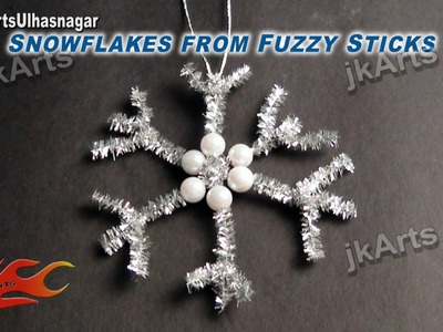 DIY How to make Snowflakes from Fuzzy Sticks (Christmas Decoration ornament) JK Arts 451