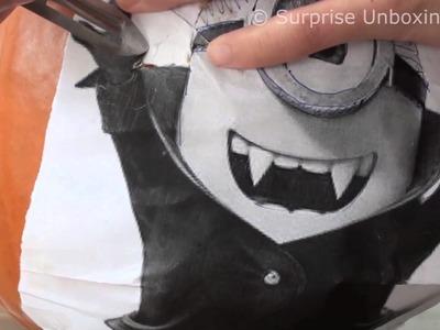 DIY Minions Pumpkin Head UNCUT - How to carve a pumpkin step by step video tutorial