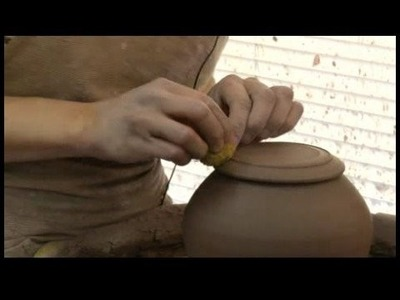 How to Make a Pottery Tea Set : Pottery Tea Sets: Trimming the Narrow-Bottom Teapot Lid